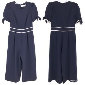 Eliza J Jumpsuit Navy Blue Short Sleeves